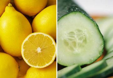 Drops of lemon juice and cucumber juice or dark circles